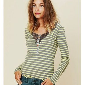 We the Free Green/Gray Striped Henley Shirt